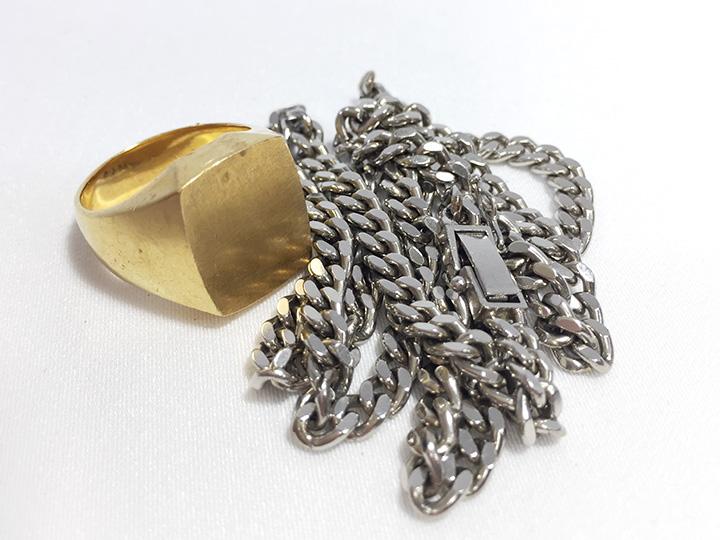 金買取事例:印台指輪 喜平ネックレス