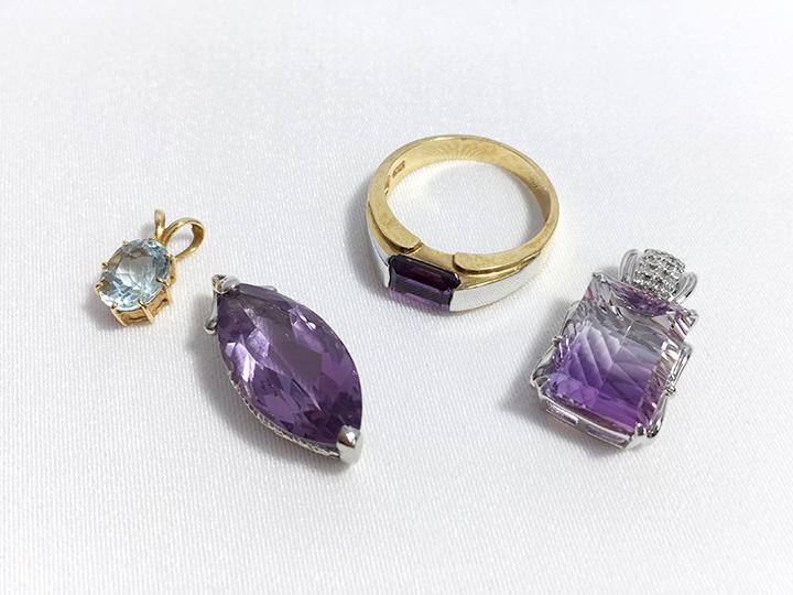 ジュエリー買取事例:半貴石 水晶 アメジスト アクアマリン